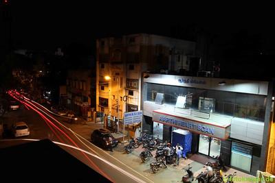 Unser Ausblick vom Dach bei Nacht.