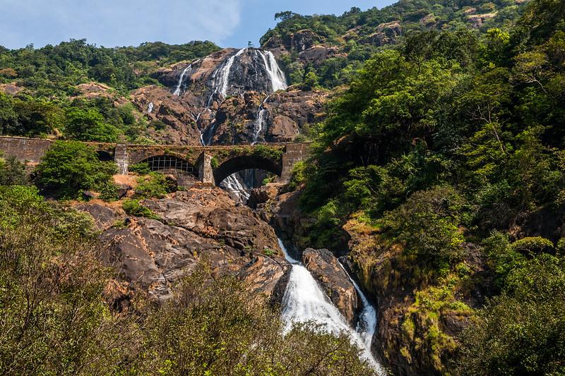 Dudhsagar waterfall in Bhagwan Mahaveer Wildlife Sanctuary, Goa