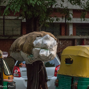 Sometimes in the stalled traffic, this was the only thing moving...a man with a big load on his back...