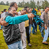 Men dancing the traditional dance of Garhwal during the butter festival at Dayara Bugyal