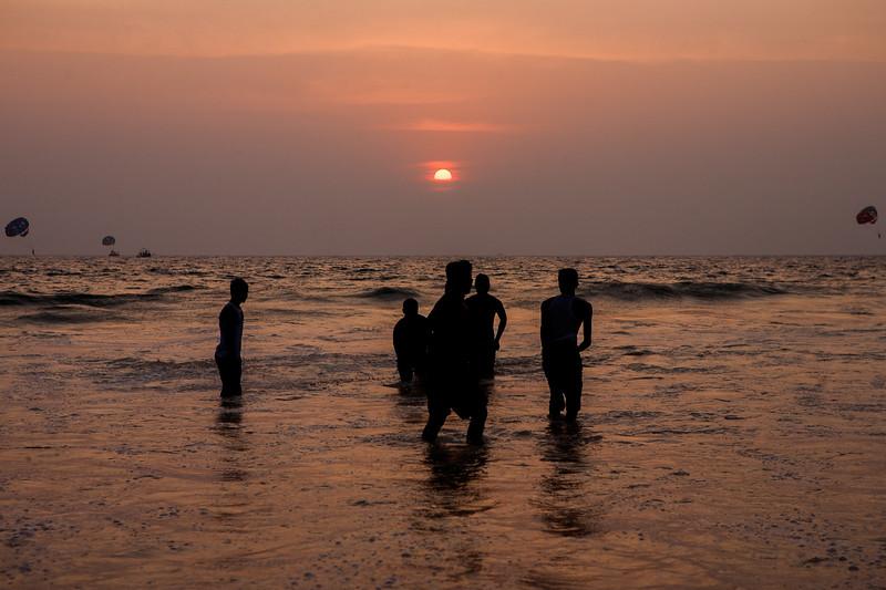 Sunset at Calangute beach in Goa