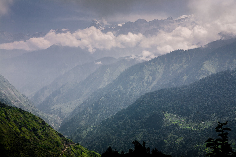 The winding roads in the Himalayas in the Garhwal region of Uttarakhand