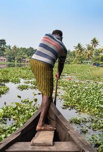 Man paddles boat, Kerala