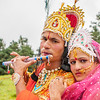 Artists decked up as Radha and Krishna on Dayara Bugyal during the butter festival