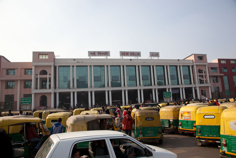 New Delhi Railway station from the outside.