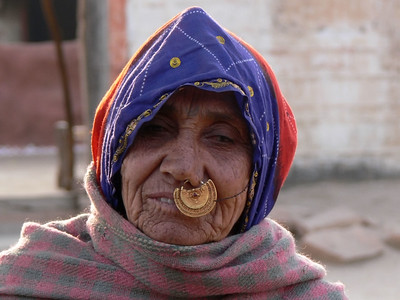 Old Woman in Thar Desert. India.