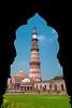 Asia. India, The Qtub Minar of the Alai-Darwaza complex in New Dehli.