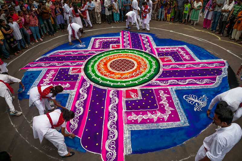 Rangoli, to welcome well being at the Ganesh festival in Pune, India