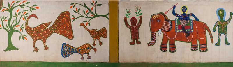Wall mjural at entrance to Bandavgarh NP, India