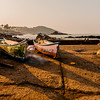 Fishing boats at Vagator beach in Goa