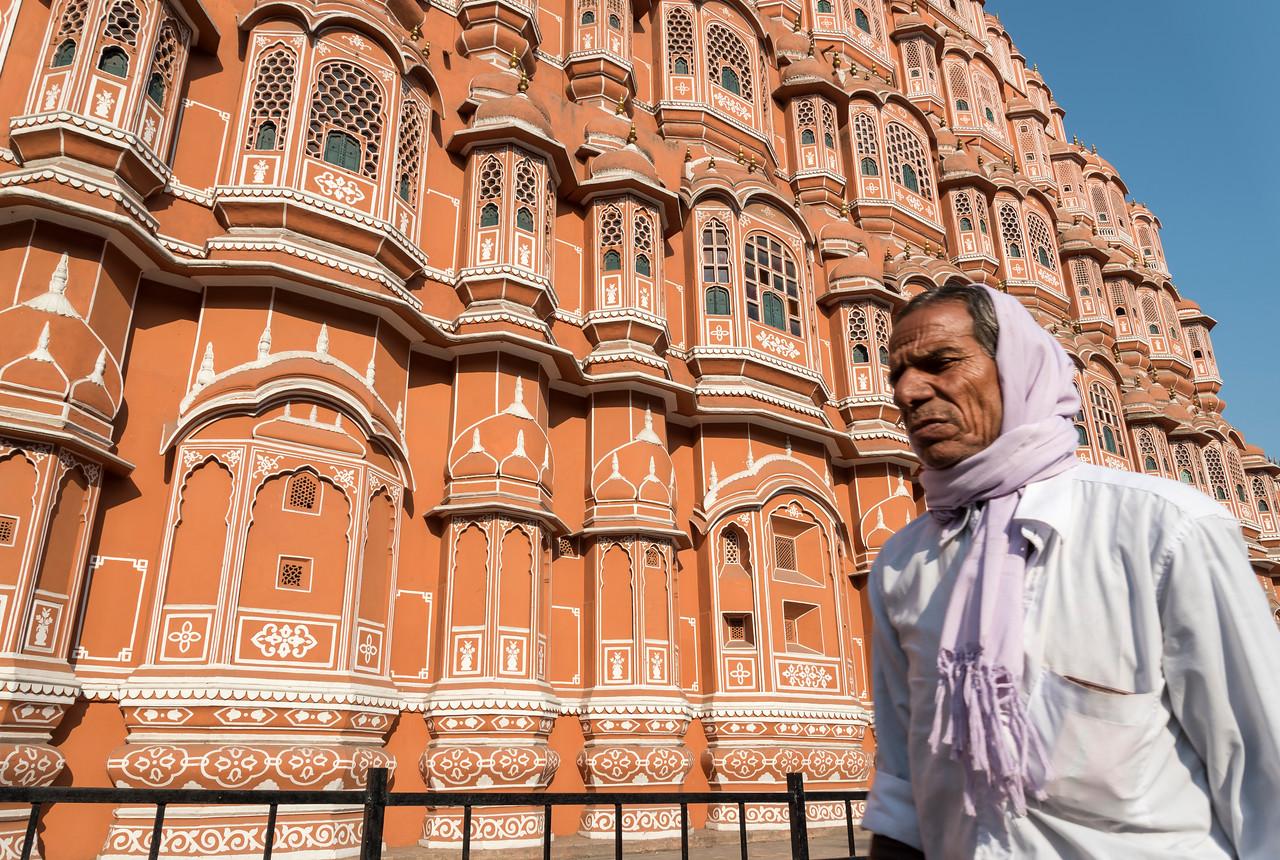 Man in front of Hawa Mahal, Jaipur
