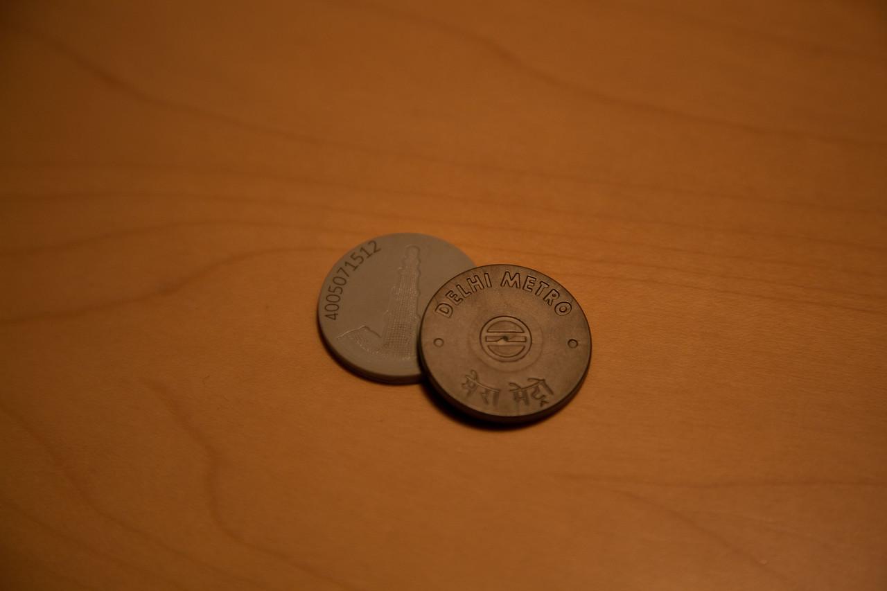 RFID New Delhi metro tokens.