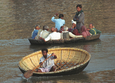 A typical boat in Hampi, India
