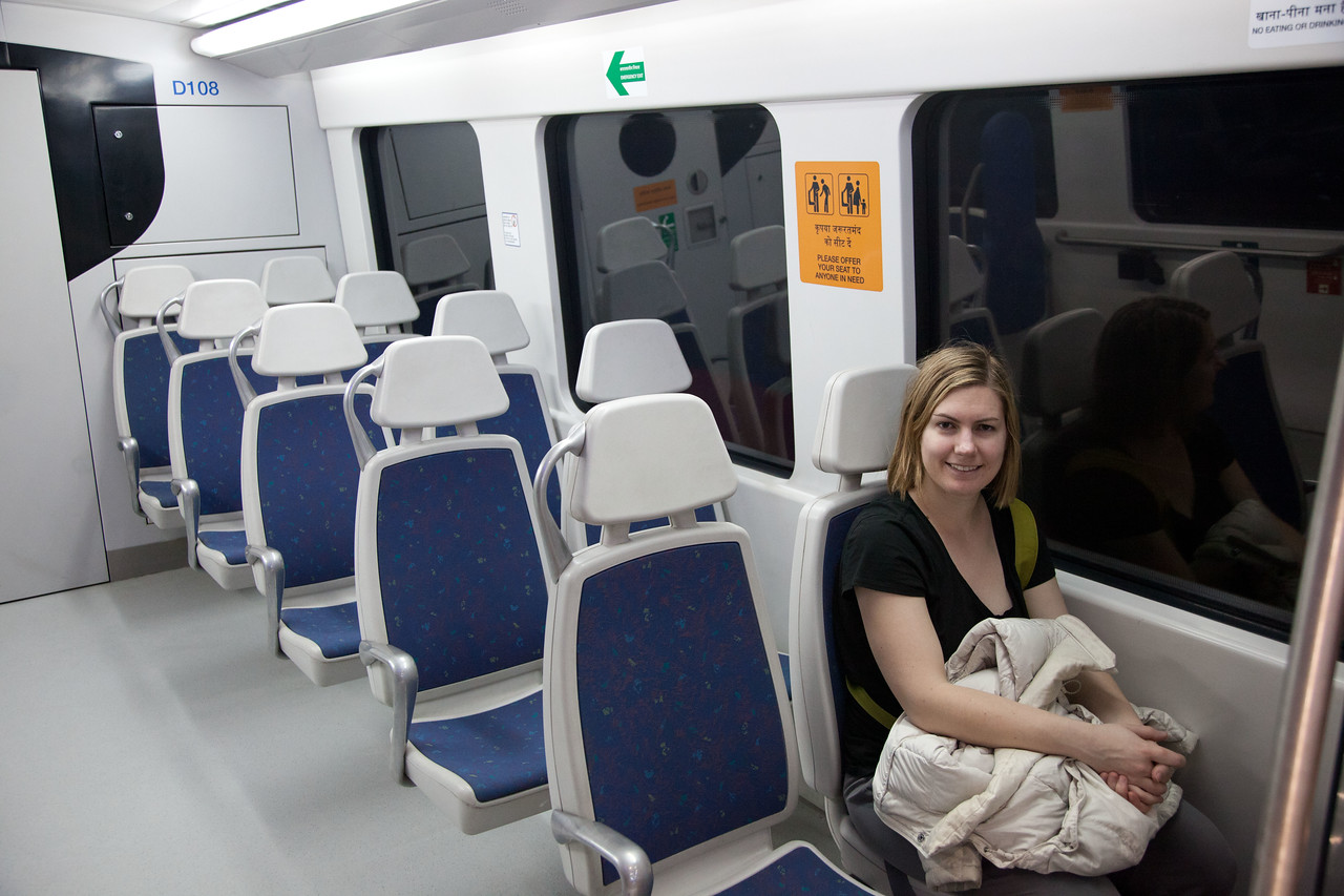 The metro from the airport to downtown New Delhi.
