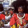 Dancers in procession honoring Hanuman's birthday, Mysore, India.