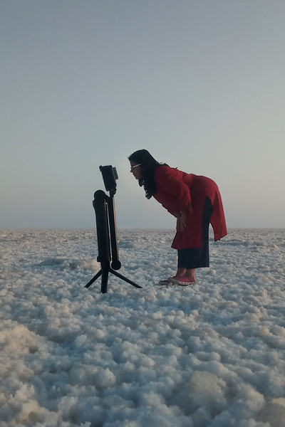 Peeking into the Go Pro at White Rann of Kutch, Gujarat, India