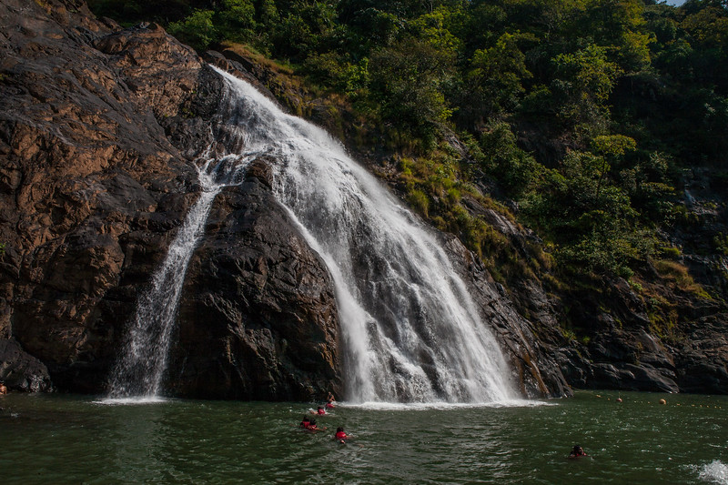 The lower tier of the Dudhsagar waterfall in Bhagwan Mahaveer Wildlife Sanctuary, Goa