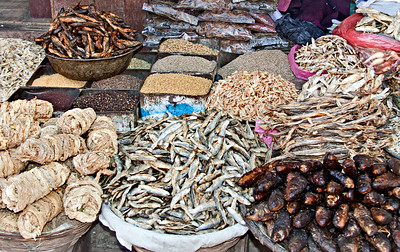 Dried fish and grains at a Kathmandu street market