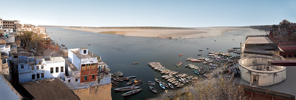 A panoramic view of the Ganges from Varanasi, India