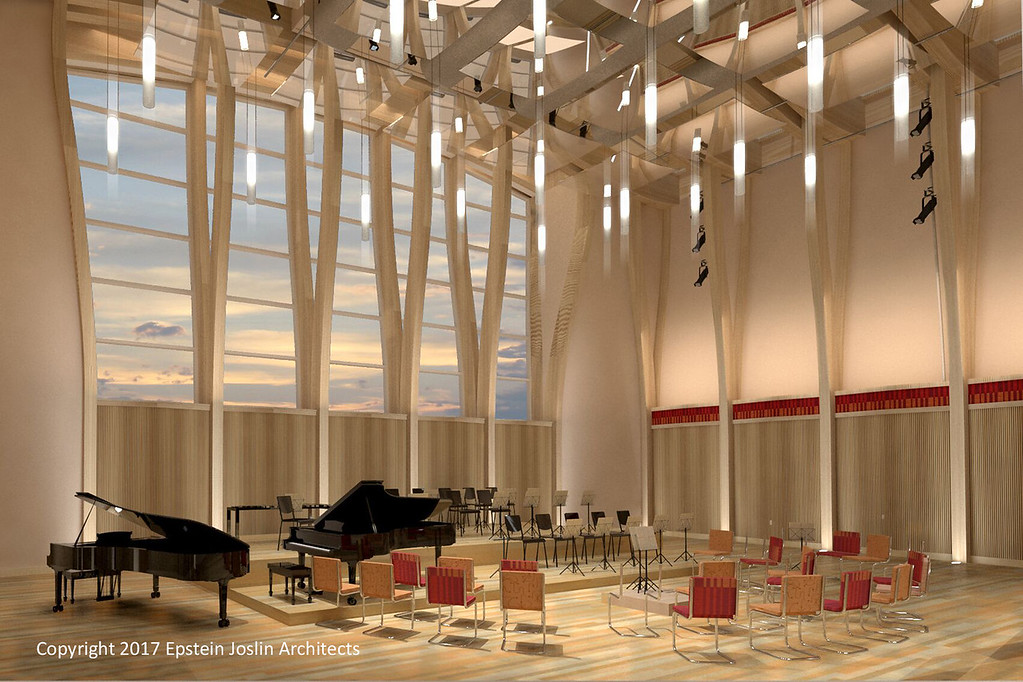 . A large multi-purpose rehearsal space for the Orchestra of Indian Hill will also accommodate Youth Orchestras,      Big Band, and other large ensembles as well as community concerts, pre-concert talks, and special events.      (Rendering by Epstein Joslin Architects ©2017)