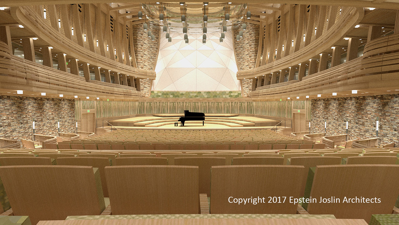 Indian Hill Music's new center will include a 1,000-seat adjustable stage concert hall that includes the ability to    <br />    open the rear of the hall to the outside lawn, doubling audience size. (Rendering by Epstein Joslin Architects  <br />    ©2017)