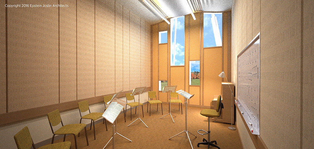 . New spacious, acoustically treated classrooms with natural light to enhance the learning experience.                      (Renderings by Epstein Joslin Architects©2016)