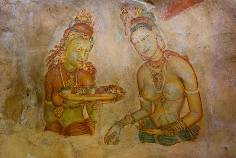 Sigiriya maidens.<br /> <br /> Picture #5 in a series of 5.<br /> <br /> Location: Sigiriya, Sri Lanka<br /> <br /> Lens used: 17-40mm f4.0