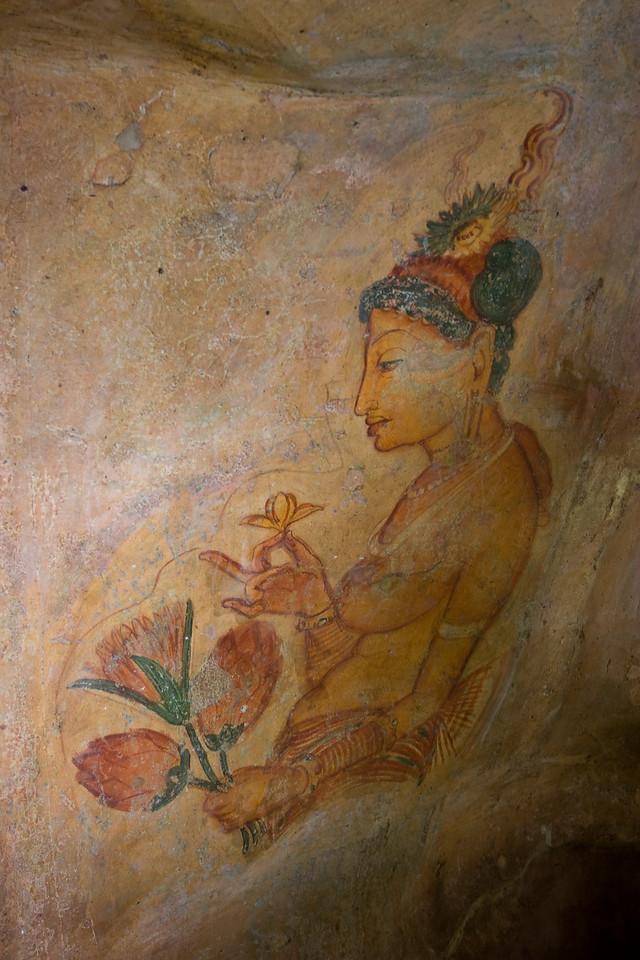 A Sigiriya maiden.<br /> <br /> Picture #4 in a series of 5.<br /> <br /> Location: Sigiriya, Sri Lanka<br /> <br /> Lens used: 17-40mm f4.0