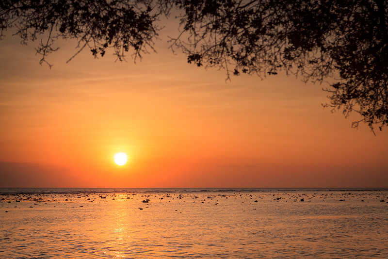 Spectacular sunset in the Gili's island