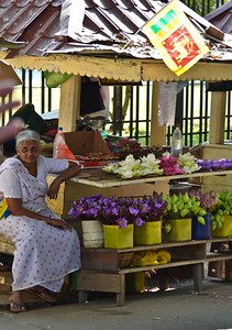 Stalls selling flowers for temple-goers
