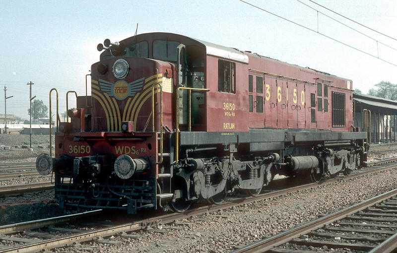 Heavy shunting engine WDS6 36150 is at Agra Idgah on 1 March 1992