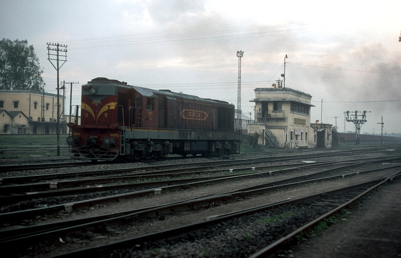 WDM4 18104 is seen in the yard at Moradabad on 18 February 1992