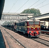 A long tank train has WAG4 20937 in charge at Mathura Junction on 9 March 1992