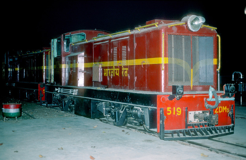 Brand new (the bonnet doors are still wired up for its transit!) ZDM5 519 in the small shed at Pratapnigah on 5 March 1992