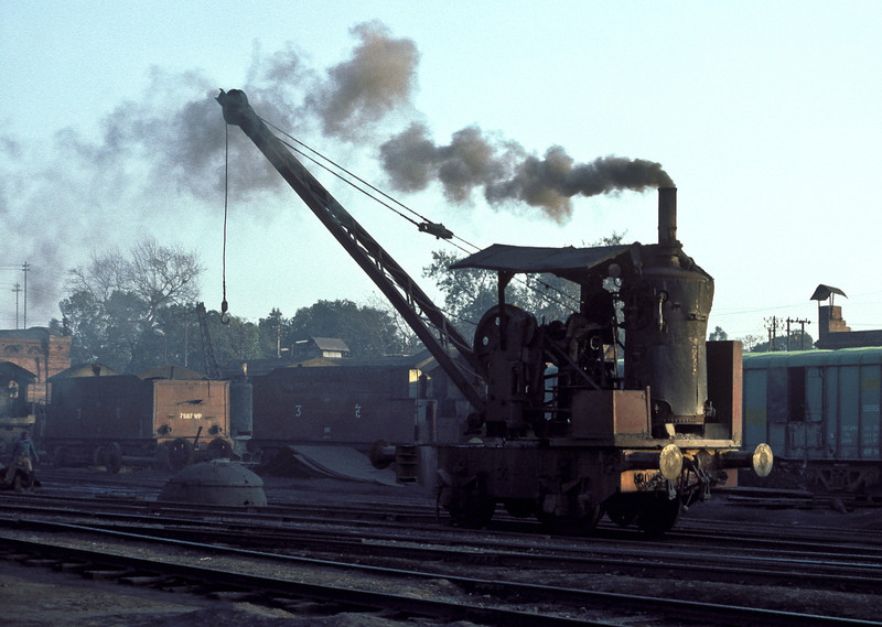 A small steam crane runs up and down the depot yard at Saharanpur on 17 February 1992