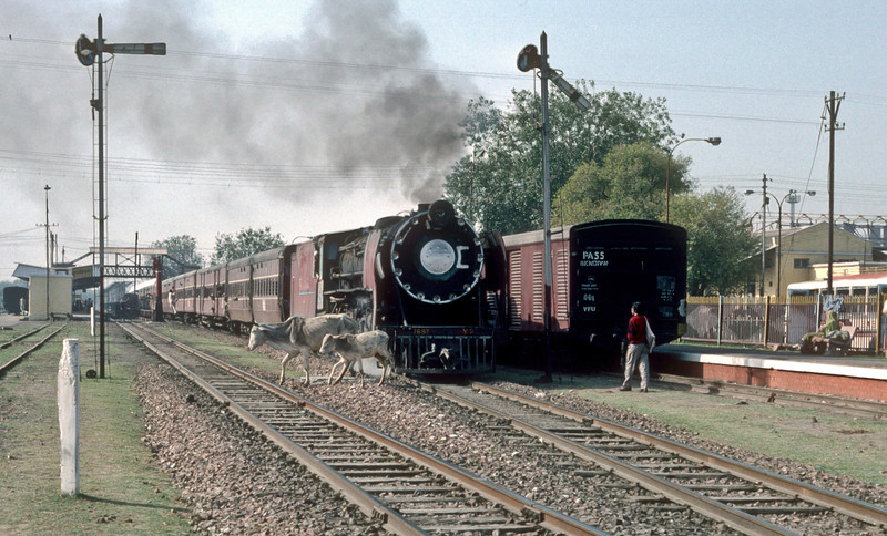 YP2697 disturbs the local residents as it starts away from Mathura Junction with a passenger service on 7 March 1992