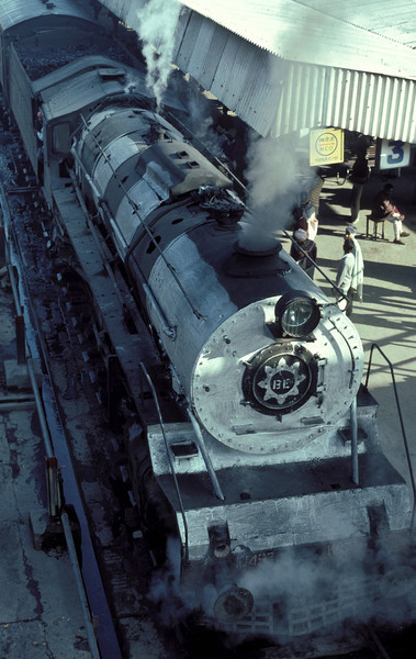 A viewpoint from the station footbridge shows the limitation of the painting of the boiler decorations on WG10493 at Bareilly Junction on 18 February 1992