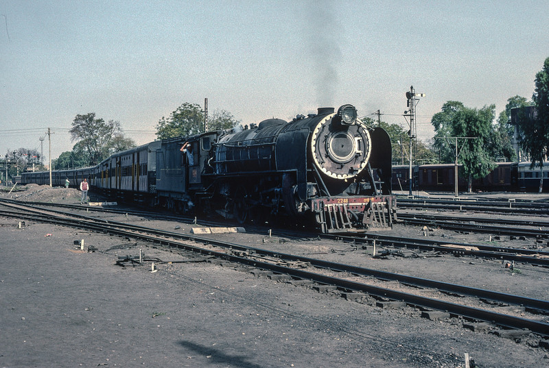 YP 2248 pulls into Jaipur with a passenger service on 3 March 1992