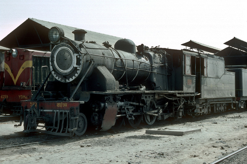 Lightweight YL locomotives were kept in a few locations where weak bridges still remained - Jaipur's YL5112 is at the locomotive depot on 3 March 1992
