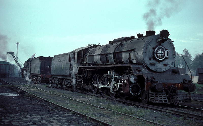 A pair of WG locos, 10338 and 9982 at Moradabad depot on 18 February 1992