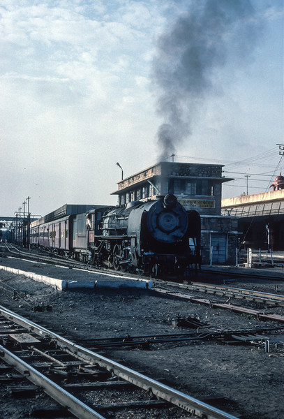 YP 2430 lifts its train away from Jaipur on 3 March 1992