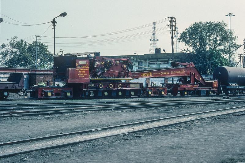 Steam breakdown crane 835 at Kathihar depot 27 February 1992