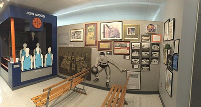 This is the John Wooden section of the HoF.  He grew up in Indiana, played here and coached here.