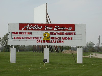Airline Twin Drive-in, a few miles east of Winchester, Indiana.  May 2004.