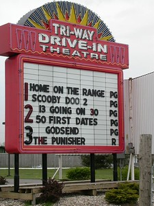 The Tri-Way Drive-in Theatre north of Plymouth, Indiana.  April 2004.