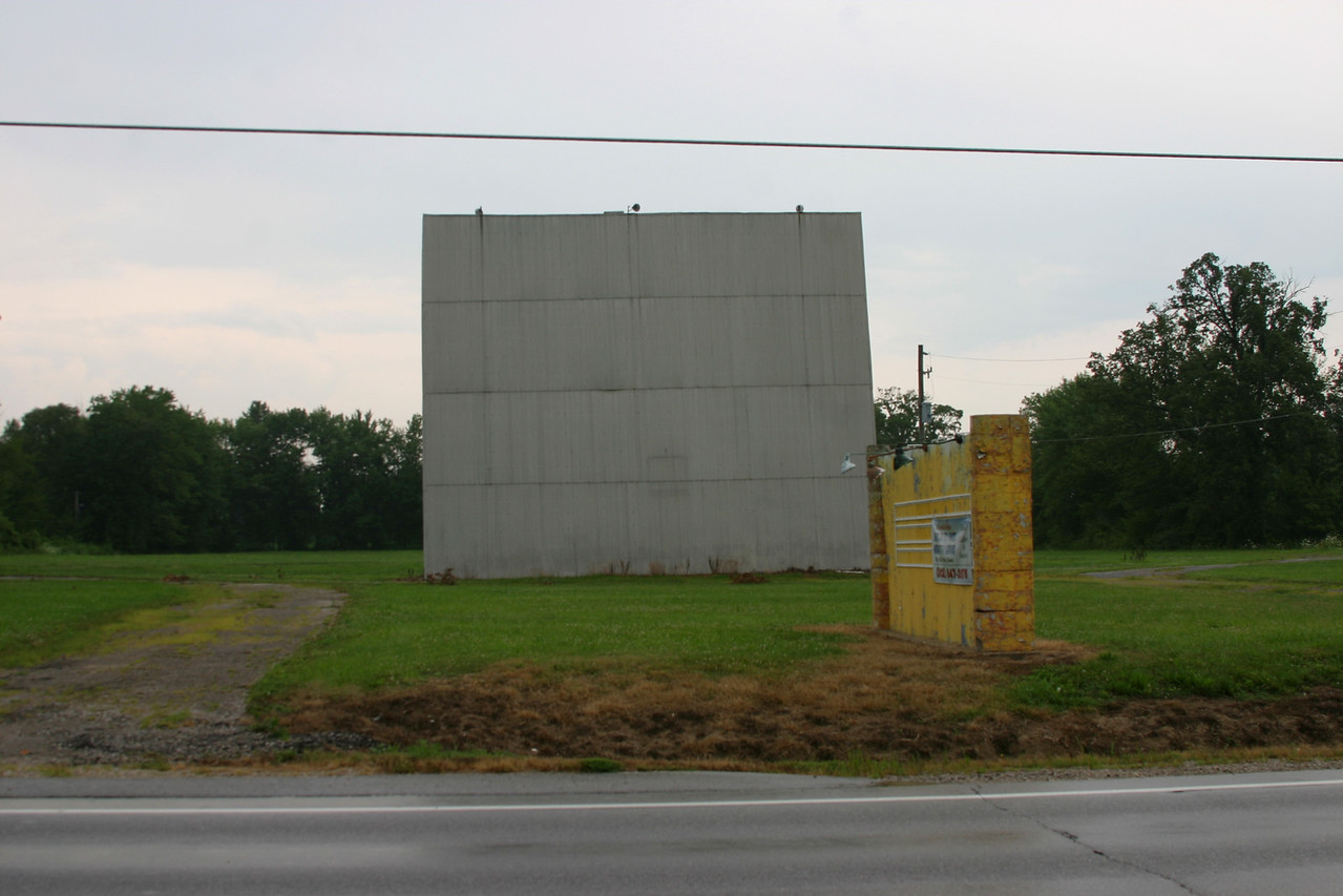 Linton, Indiana drive-in theater.  Photographed July 20, 2006.  This theater was closed several years ago and a sign out front off metal sections from screen for sale.