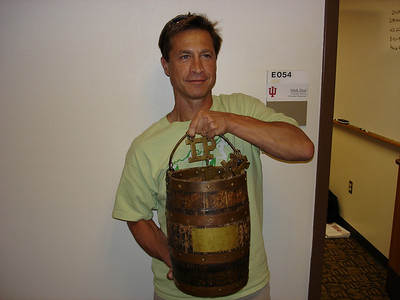 Pat holding The Oaken Bucket