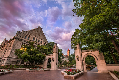Indiana University Sample Gates Purple Skies Evening
