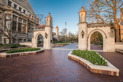 Evening at the Sample Gates of Indiana University on Indiana Avenue in Bloomington