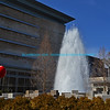 "Water fountain with multiple concrete columns of varying heights and bright blue sky and Indianapolis Museum of Art in the background.<br /> <br /> bluemoon1236, smugmug <a href=""http://bluemoon1236.smugmug.com/Indiana-sights"">http://bluemoon1236.smugmug.com/Indiana-sights</a> ,Bluemoon Fine Photography"